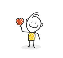 Strichfiguren / Strichmännchen: Herz, Spende. (Nr. 24)