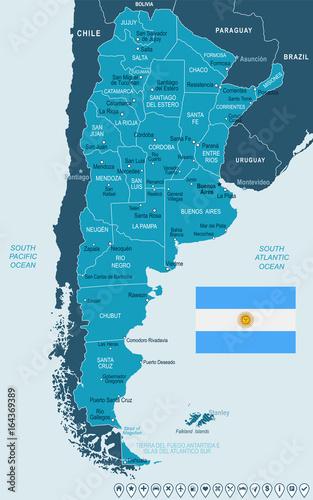 Valokuva  Argentina - map and flag illustration