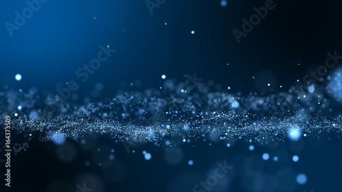 Fotografia  Dark blue and glow particle abstract background.