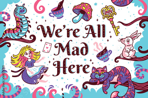 Print with characters from Alice in wonderland Wallpaper Mural