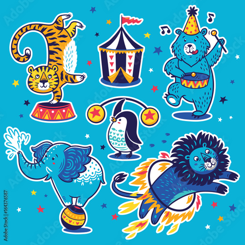 In de dag Cartoon draw Collection of vector stickers with circus animals