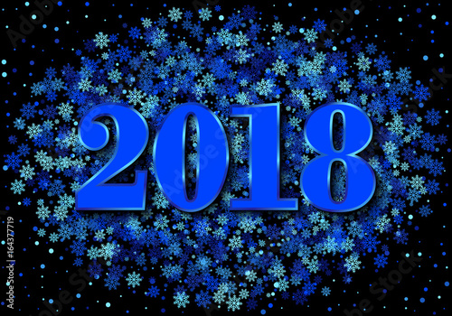greeting card with shimmer numbers scattered blue snowflakes and circles on black background 2018