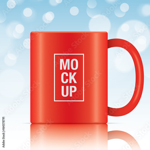red vector coffee mug template isolated on a blue bokeh background vector mug mockup for your design buy this stock vector and explore similar vectors at adobe stock adobe stock adobe stock