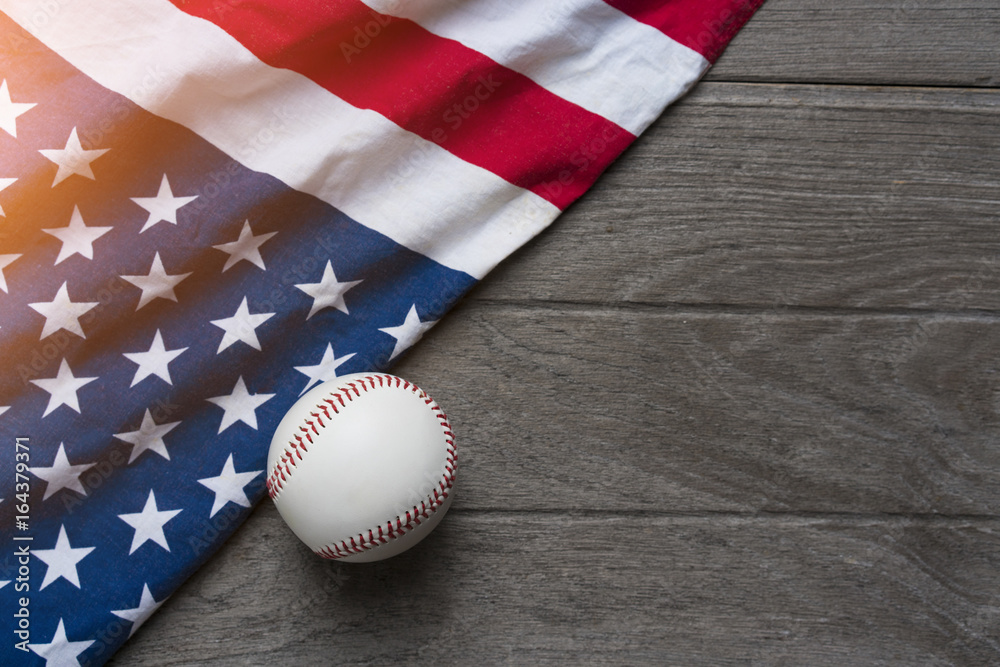 5ff0f06bc24d Photo   Art Print baseball with American flag in the background ...