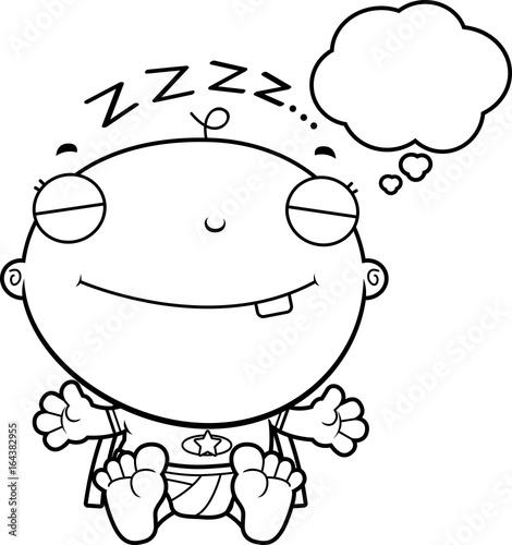 In de dag Cartoon draw Cartoon Superhero Baby Dreaming