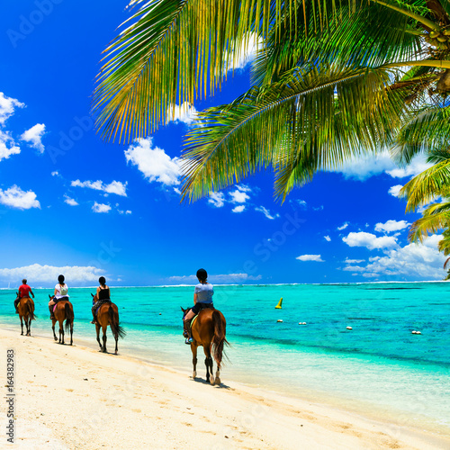 Poster Tropical plage Horse riding on tropical beach. Mauritius island