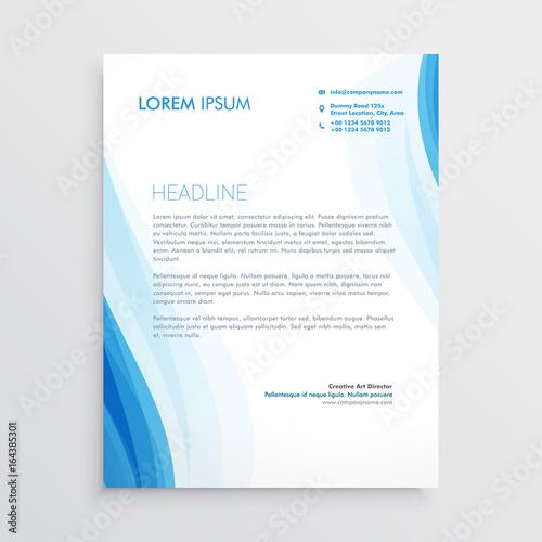 Fototapeta elegant blue letterhead design template with wavy shape obraz