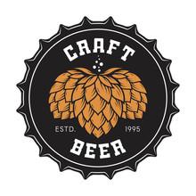 Illustration Of Craft Beer Bottle Cap With Hops