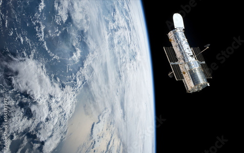 Fotografie, Obraz Hubble Space Telescope orbiting planet Earth (3d rende)