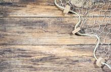 Fischer Netz Auf Holz Hintergrund Mit Textfreiraum