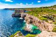 Stunning island scenery of Majorca, cliff-line at the rocky coast of Santanyi, Spain Mediterranean Sea