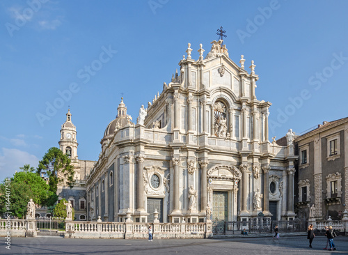 Poster Monument Catania Cathedral with its Sicilian Baroque façade