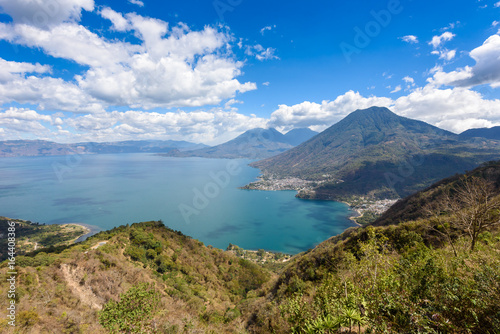 Printed kitchen splashbacks South Africa Viewpoint at lake Atitlan with the three volcanos San Pedro, Atitlan and Toliman - you can see the small villages San Pedro and San Juan at the lake in the highlands of Guatemala