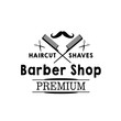 Vector mustaches icon of hipster beard barber shop