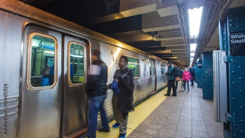 New York city subway time-lapse, showing the loading and unloading of passenger trains arriving and departing at station