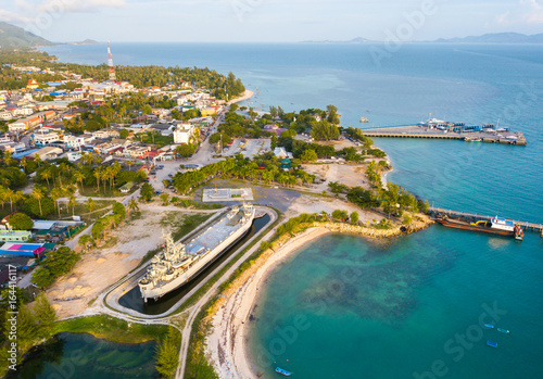Wall Murals Canary Islands Aerial view from the drone on the island koh Phangan,Thong Sala pier,the most important tourist destination
