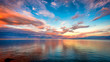 canvas print picture - Sunset at Lake superior