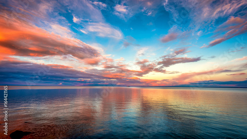 Poster de jardin Mer coucher du soleil Sunset at Lake superior