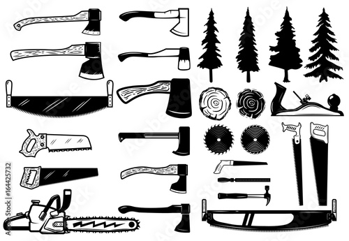 Set Of Carpenter Tools Wood And Trees Icons Design Elements For