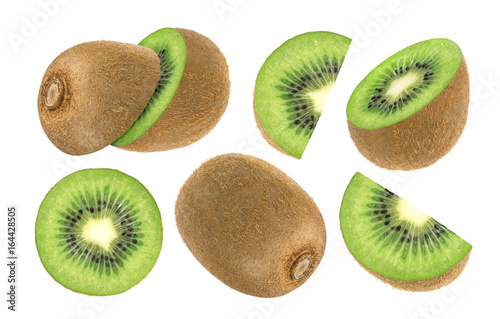 Isolated kiwi fruit. Collection of whole and sliced kiwi isolated on white background