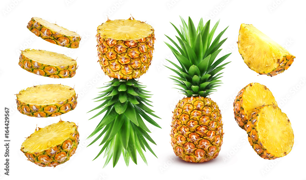 Fototapeta Pineapple collection. Whole and sliced pineapple isolated on white background