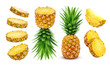 canvas print picture - Pineapple collection. Whole and sliced pineapple isolated on white background