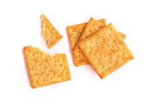 Close Up The Healthy  Whole Wheat Cracker On White Background , Top View Or Overhead Shot