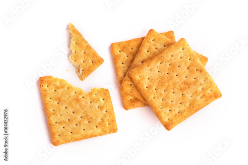 Vászonkép Close up the healthy  whole wheat cracker on white background , top view or over