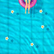 The girl in a bathing suit sunbathes. pool top view, inflatable swim ring in shape of donut in the pool