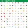 100 bounty icons set, cartoon style