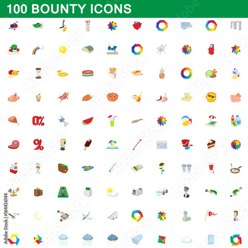 100 bounty icons set, cartoon style Wallpaper Mural