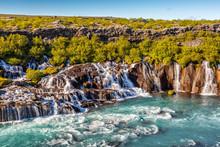 Hraunfossar Waterfall In Icela...