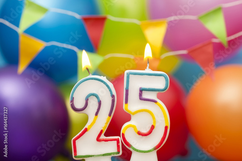 Poster  Happy Birthday number 25 celebration candle with colorful balloons and bunting