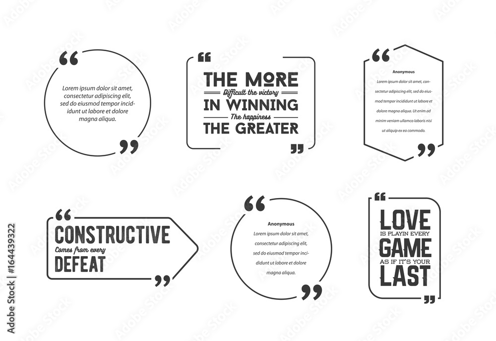 Fototapety, obrazy: Typographic Quote Template Bubble. Template Vector Set.