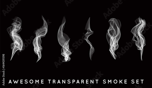 Fotobehang Rook Set of digital realistic smoke vector illustration, curly smoke flow collection, curved transparent smoke flow image, grey smoke flow, vertical smoke flow, 3D smoke flow picture.