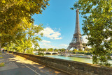 Fototapeta Fototapety z wieżą Eiffla - The Eiffel tower in Paris. Jena Bridge is a bridge spanning the River Seine in Paris.