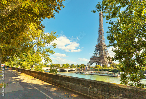 Poster de jardin Tour Eiffel The Eiffel tower in Paris. Jena Bridge is a bridge spanning the River Seine in Paris.