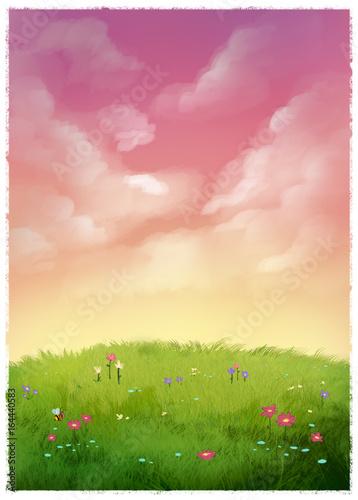 Fotografie, Obraz  ilustracion del campo