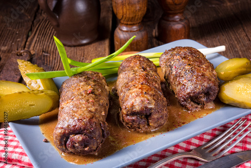 Fotografie, Obraz  baked beef Roulades with delicious fillings
