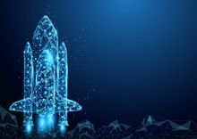 Wireframe Space Rocket Launch Sign Mesh From A Starry And Start Up Concept Background