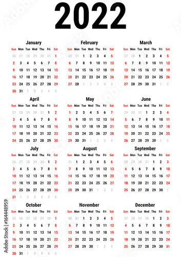 Fotografering  Calendar for 2022