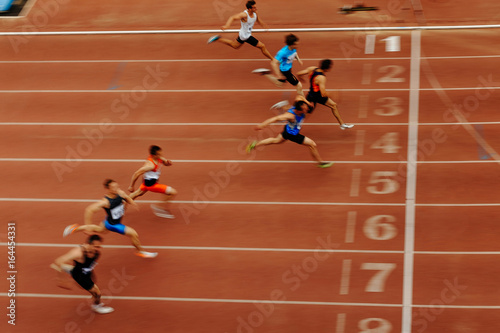 Fotografie, Obraz blurred motion finish final sprint of race athlete runners