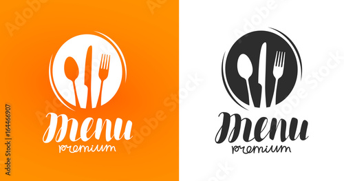 Deurstickers Restaurant Cooking, cuisine logo. Icon and label for design menu restaurant or cafe. Lettering, calligraphy vector illustration