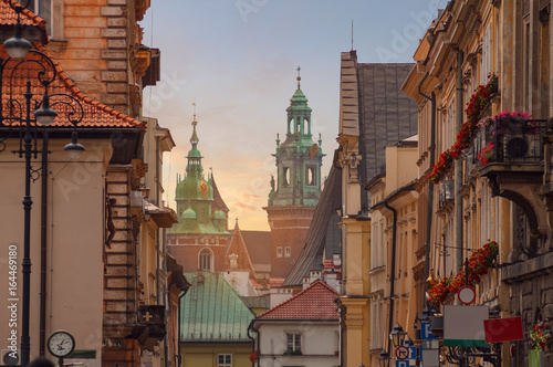 plakat Krakow - Wawel castle in sunset time in urban areas