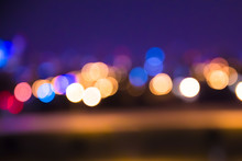 Defocused Blur Of City Lights At Night Abstract