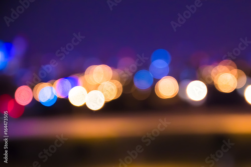 Poster Nacht snelweg Defocused blur of city lights at night abstract