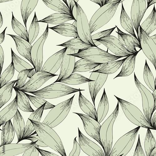 Αφίσα  Vector seamless pattern with branches and leaves