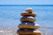 beach stone balancing