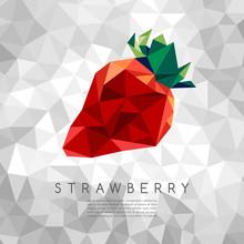 Polygonal Strawberry : Vector Illustration