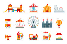 Amusement Park Vector Flat Ele...